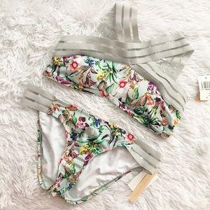 Gibson Latimer Floral Gray Criss-Cross Bikini NWT